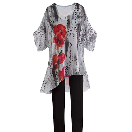 V-Neck Sheer Poppy Poncho