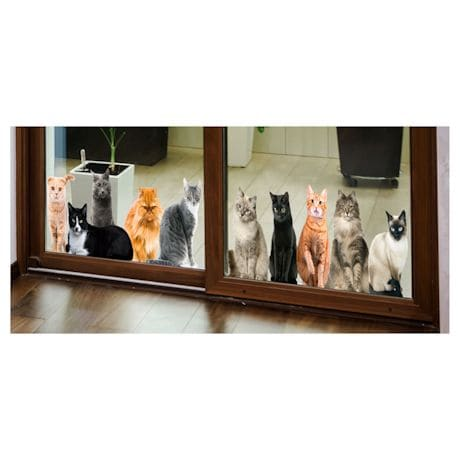 Cat House Window/Door Clings - All Upright