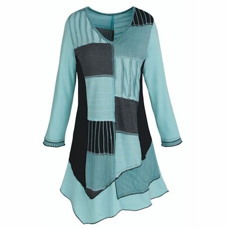 Aquamarine Patchwork Tunic Top