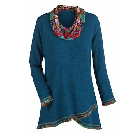 Contrasting Cowl Neck Tunic Top
