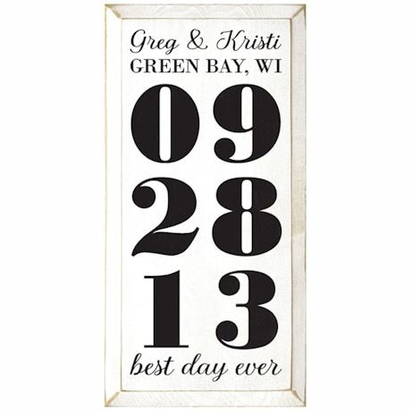 """Personalized """"Best Day Ever"""" Wood Wall Art - Vertical"""