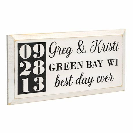 "Personalized ""Best Day Ever"" Wood Wall Art - Horizontal"
