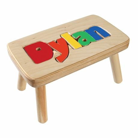 Personalized Children's Wooden Puzzle Step Stool - 1-5 Letters