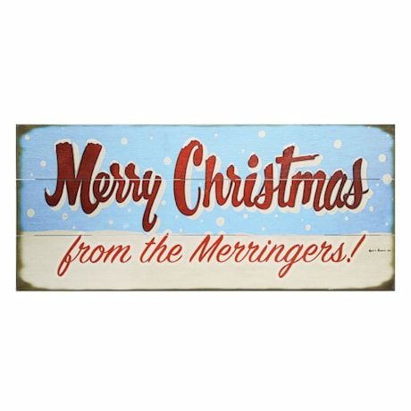 "Personalized ""Merry Christmas"" Snowfall Wood Wall Art"