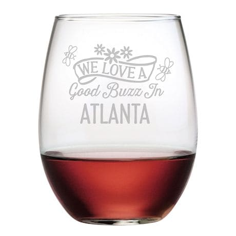 "Personalized ""We Love a Good Buzz"" Stemless Wine Glasses - Set of 4"