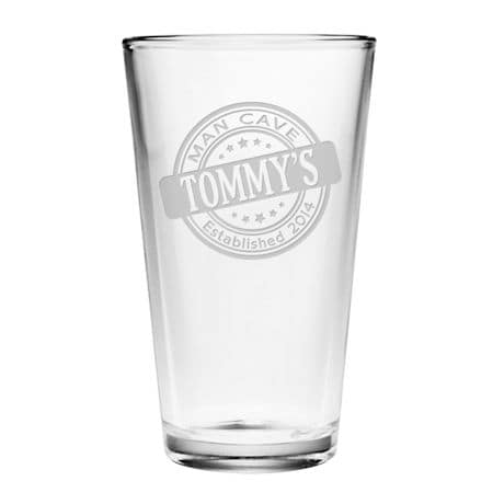 "Personalized ""Man Cave"" Pint Glass"