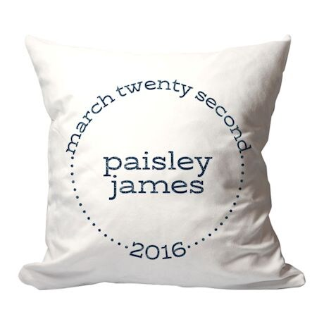 Personalized Baby Birth Announcement Pillow