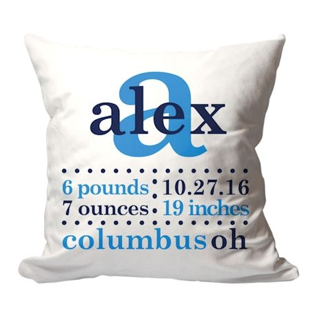 Personalized Blue Birth Announcement Pillow