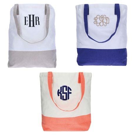 Monogrammed Color Block Tote Bag