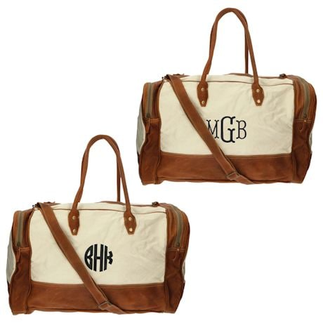 Monogrammed Genuine Leather and Canvas Duffel Bag