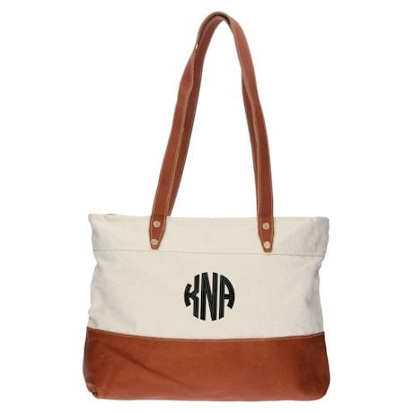 Monogrammed Genuine Leather and Canvas Tote Bag