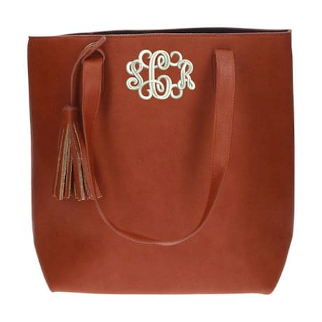 Monogrammed Faux Leather Tote Bag