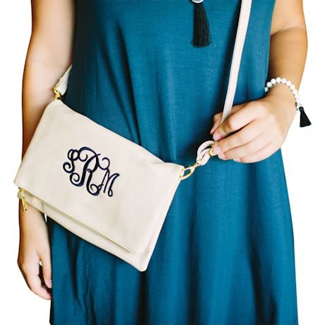 Monogrammed Faux Leather Crossbody Bag