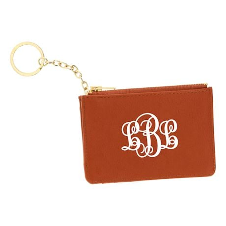 Monogrammed Faux Leather Keychain ID Holder