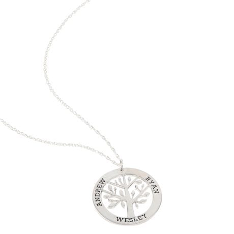 Personalized Sterling Silver Family Tree Necklace
