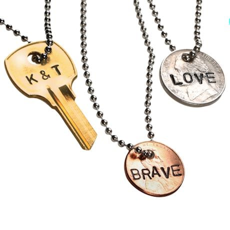 Personalized Hand-Stamped Key Necklace