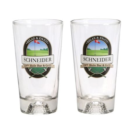 Personalized 19th Hole Golf Ball Mixer Glasses - Set of 2