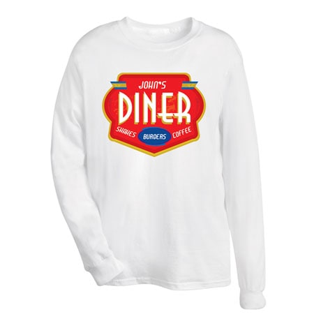"Personalized ""Your Name"" Shakes, Burgers, Coffee Diner Tee"