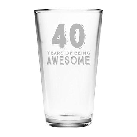 "Personalized ""Years of Being Awesome"" Birthday Pint Glass"