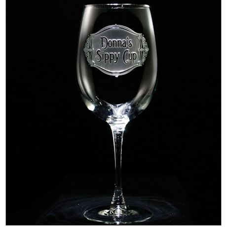 """Personalized """"Sippy Cup"""" Wine Glass"""