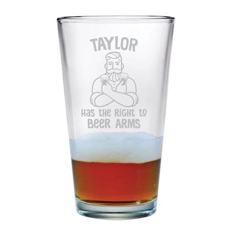 "Personalized ""Right to Beer Arms"" Single Pint Glass"