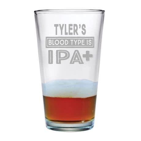 Personalized IPA Blood Type Single Pint Glass