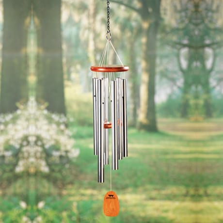Amazing Grace Wind Chimes of Cherry Wood and Aluminum