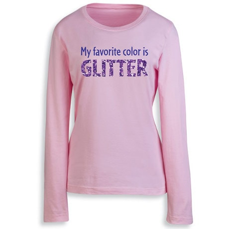 My Favorite Color is Glitter Women's T-Shirt in Pink at What on ...