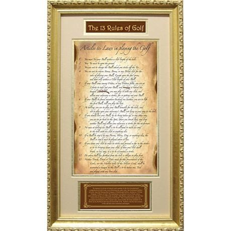13 Rules Of Golf Framed