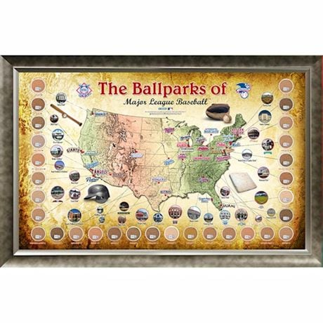 "Major League Baseball Parks ""Map"" 20X32 Framed Collage W/ Game Used Dirt From 30 Parks"