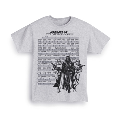 Star Wars Imperial March T-Shirt with Lyrics Printed on Front