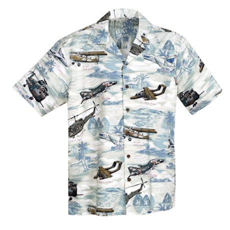 WWII Hawaiian Camp Shirt in White with Coconut Buttons