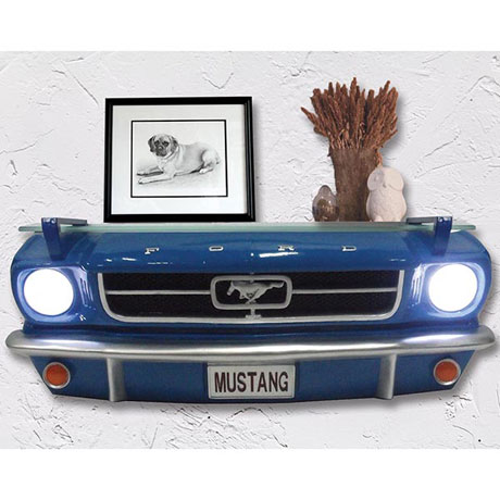 Mustang Shelf Front End with LED Headlights and Glass Shelf in Cast Stone