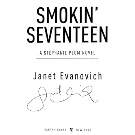 Signed Autographed Smokin' Seventeen Book by Janet Evanovich