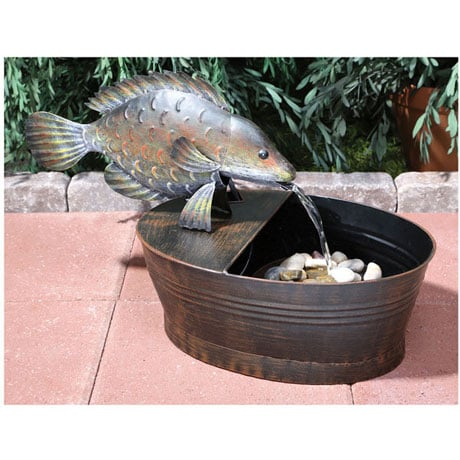 Metal Fish Fountain Animated Garden Sculpture