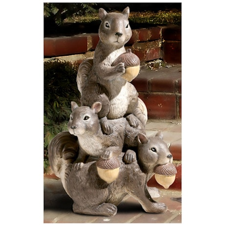 Squirrel Garden Totem Resin Sculpture