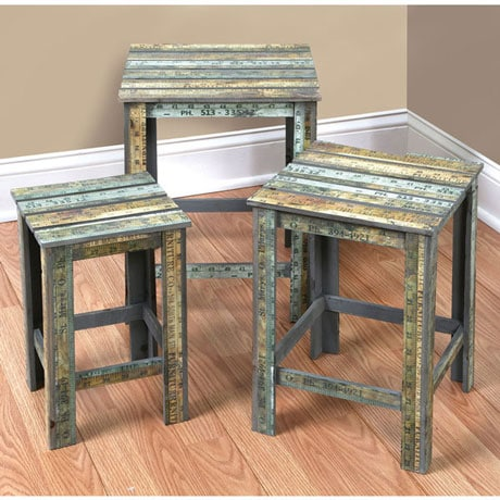 The Shed Wooden Ruler Nesting Tables Set of 3
