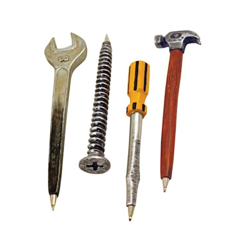 Hardware Pens Set of 4 with Wrench, Screw, Screwdriver, Hammer