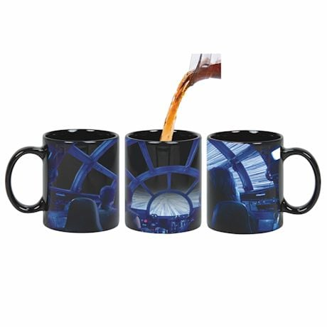 Star Wars Rey & Chewie Millenium Falcon Cockpit Hyperspace Heat Changing Coffee Mug