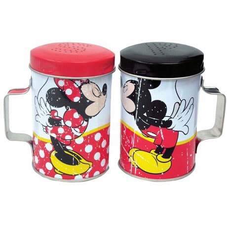 Disney Mickey And Minnie Kissing Tin Salt And Pepper Shaker Set