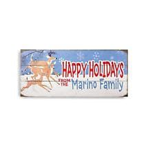 Personalized Happy Holidays Wood Sign