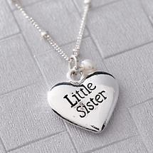 Little Sister Necklace with Heart Charm in Sterling Silver Made In USA