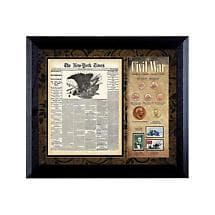NEW YORK TIMES CIVIL WAR COIN & STAMP COLLECTION FRAMED