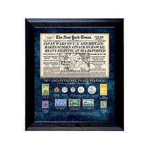 New York Times Pearl Harbor 70Th Anniversary Coin And Stamp Collection Framed