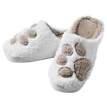 Paw Print Plush Slippers Sleeps with Dogs