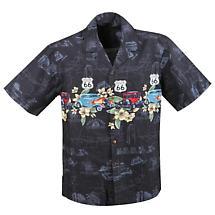 Route 66 Hawaiian Camp Shirt in Black and Dark Blue