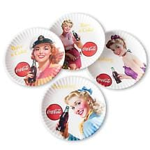 "Coca Cola® Retro Plates Set of Four 9"" Plates with Vintage Style"