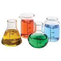 Lab Shot Glasses Beakers and Flasks Set of 4