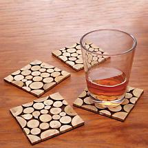 Eco-Friendly Wooden Coaster Set of 4