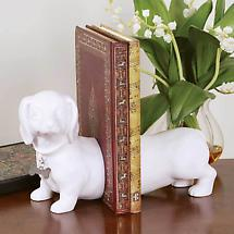 Dachshund Bookends in White